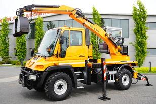 MERCEDES-BENZ UNIMOG U300 , 4x4 , plow set , Excavator body , graple , support wheel excavator